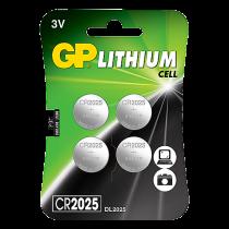 Knappcellsbatteri GP Litium CR2025 4/fp